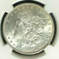 1887 MORGAN SILVER DOLLARNGC MINT STATE 64 BEAUTIFUL COIN REF94-010