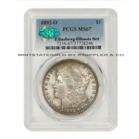 FINEST KNOWN 1892-O $1 SILVER MORGAN PCGS MINT STATE 67 CAC CERTIFIED ILLINOIS SET DOLLAR