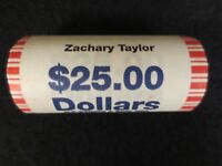 ZACHARY TAYLOR ONE DOLLAR PRESIDENTIAL COINS UNCIRC. MINT ROLL {25 COINS}