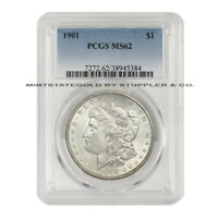 1901 $1 SILVER MORGAN DOLLAR PCGS MINT STATE 62 PHILADELPHIA MINTED CHOICE GRADED COIN