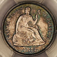 1873 SEATED LIBERTY HALF DIME H10C PCGS MINT STATE 63 - COLORFUL TONING