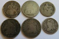 1829 1831 1835 CAPPED BUST   1854 1890 ND SEATED LIBERTY DIM