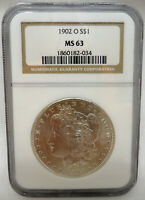 1902-O MORGAN SILVER DOLLAR $1 COIN NGC MINT STATE MINT STATE 63 MINT STATE 63 - SHIPS FREE