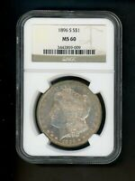 1896 S US MORGAN SILVER DOLLAR $1.00 $1 NGC MINT STATE 60 UNC ORIG SURFACE GOLDEN TONING