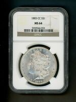 1883 CC US MORGAN SILVER DOLLAR $1.00 $1 NGC MINT STATE 64 CH UNC ORIGINL FROSTED PATINA