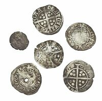 ENGLAND. LOT OF 6 ASSORTED HAMMERED SILVER COINS EDWARD JAME