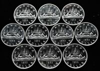 LOT OF 10   1963 CANADA SILVER DOLLARS PROOF LIKE UNC