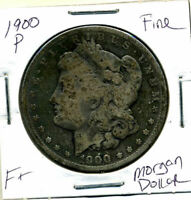 1900 P F MORGAN DOLLAR 100 CENT  FINE  90 SILVER US $1  OLD COIN 3106
