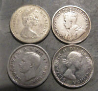 4 SILVER CANADIAN TEN CENTS   1965   1917   1937   1962