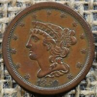 1850 1/2C C 1 BRAIDED HAIR HALF CENT COIN   ORIGINAL COLOR    DATE
