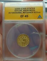 ANACS ANCIENT INDIAN GOLD COIN CEYLON 1000AD GOLD STATER. BEAUTIFUL GOLD COIN