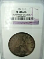 NGC XF DETAILS 1842 SILVER DOLLAR
