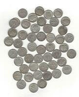 ONE ROLL 90  SILVER ROOSEVELT DIMES  50 COINS  1950'S ALL  W