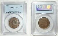 1818 1C LARGE CENT   NEWCOMB 6 BN   CERTIFIED PCGS AU53