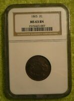1865  U.S. 2 CENT FANCY 5 NGC MINT STATE 63 BROWN
