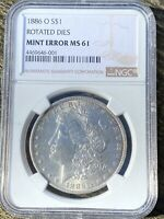 1886-O MORGAN SILVER DOLLAR, NGC MINT STATE 61,  ROTATED DIES MINT ERROR, VAM-4 COIN
