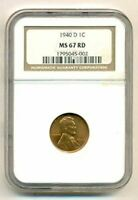 1940 D LINCOLN WHEAT CENT MINT STATE 67 RED NGC