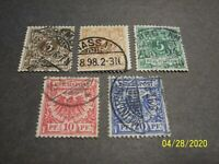 GERMANY 1889 1900 IMPERIAL EAGLE/NUMERALS USED SHORT SET OF 5 FINE VERY FINE
