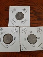 1943 P, 1943-D, 1943-S LINCOLN PENNIES - 3 U.S. 1 CENT STEEL PENNY PDS