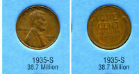 LINCOLN HEAD WHEAT CENT 1935 S AVERAGE CIRCULATED UNITED STATES 1 PENNY COIN B6