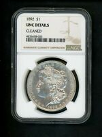 1892 US MORGAN SILVER DOLLAR $1.00 $1 NGC UNC DETAILS CLEANED  APPEARANCE