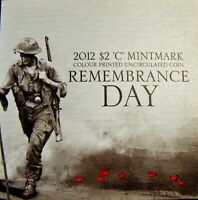 2012 REMEMBRANCE DAY POPPY $2 COLOUR PRINTED COIN IN FOLDER