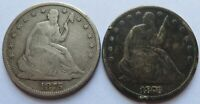 1875 S   1876 SEATED LIBERTY SILVER HALF DOLLAR COINS VINTAG
