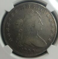 1799 DRAPED BUST SILVER DOLLAR $1 COIN NGC F DETAIL RIM ISSUE GREAT SURFACE