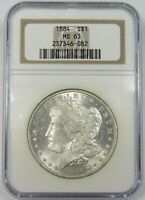 1884-P MORGAN DOLLAR NGC MINT STATE 63 $1 SILVER COIN 24762A