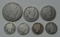 BARBER VARIETY LOT OF 7   SILVER HALF DOLLAR QUARTERS AND DI