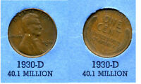 LINCOLN HEAD WHEAT CENT 1930 D AVERAGE CIRCULATED UNITED STATES 1 PENNY COIN B4