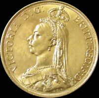 1887 GOLD GREAT BRITAIN 2 POUNDS  DOUBLE SOVEREIGN  QUEEN VICTORIA CHOICE AU