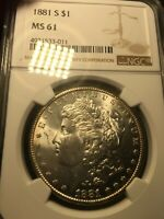 1881-S MORGAN SILVER DOLLAR NGC MINT STATE 61.  STRONG STRIKE.  QUALITY LUSTER.