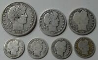 BARBER VARIETY LOT OF 7   SILVER HALF DOLLAR QUARTERS & DIME