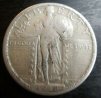 1918-S STANDING LIBERTY QUARTER  FINE EXTRA FINE  EF  STRONG FULL DATE