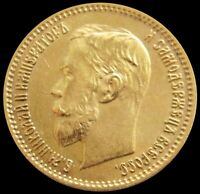 1902 P GOLD RUSSIA 4.301 GRAMS 5 ROUBLES NICHOLAS II COIN
