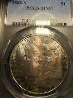 1882-S MORGAN SILVER DOLLAR PCGS MINT STATE 67.  STRONG STRIKE.  GORGEOUS TONING.