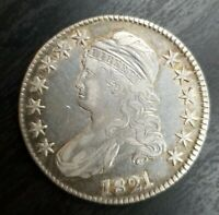 1821 CAPPED BUST HALF DOLLAR EXTRA FINE EXTRA FINE  OR ABOUT UNCIRCULATED AU DETS CLEANED