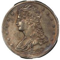 1838 CAPPED BUST HALF DOLLAR UNCIRULATED OLD CLEANING RE TONED MS UNC