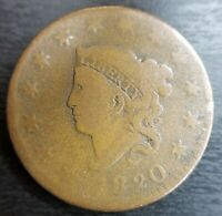 1820 CORONET MATRON HEAD LARGE CENT BERY GOOD VG OR FINE F ORIGINAL