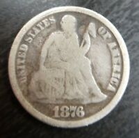 1876-CC TYPE 1 DDO DOUBLED OBVERSE BR3399 SEATED LIBERTY DIME GOOD