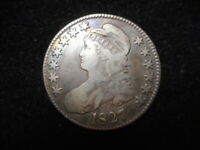 1827 CAPPED BUST HALF DOLLAR - NO SERIOUS PROBLEMS EXCEPT COIN HAS BEEN CLEANED.