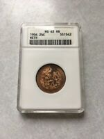 1906 NETHERLANDS 2 1/2 TWO AND A HALF CENT ANACS MINT STATE 63 RB