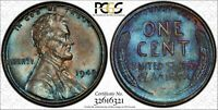 1942 1C LINCOLN CENT PCGS MINT STATE 62BN 32616321, TONED W/ TRUEVIEW 24H
