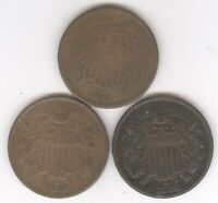LOT OF THREE   TWO CENT PIECES   CIRCULATED   1864 1865 1868