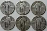 LOT OF 6   STANDING LIBERTY QUARTERS   FULL DATES & NICER GR