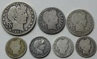 LOT OF 7 BARBER VARIETY   SILVER HALF DOLLAR QUARTERS & DIME