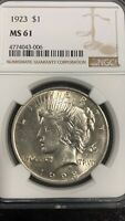 1921 US PEACE DOLLAR $1 SILVER COIN NGC GRADED MS61 HIGH REL