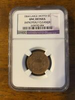 1864 TWO CENT PIECE LARGE MOTTO NGC UNC DETAILS