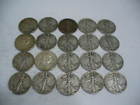 LOT OF 20  USA  HALF DOLLAR SILVER COINS  50 CENT PIECES   90   JUNK   LOT A